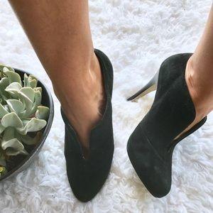 Banana republic black suede heel ankle booties